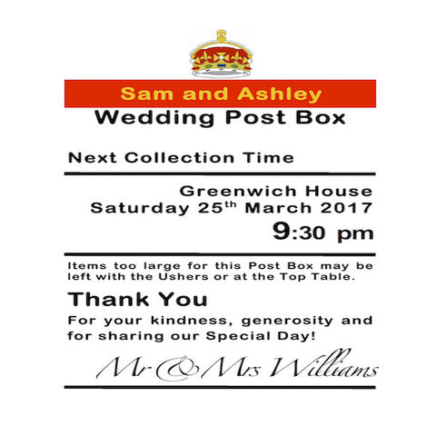 Personalised Royal Mail Post Box Wedding Card