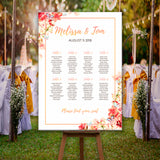 * Personalised Wedding Seating Plan Table Plan - Floral & Rose Gold Effect