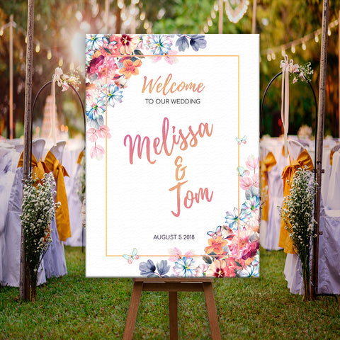 * Personalised Welcome To Our Wedding Sign Poster Floral & Rose Gold Effect