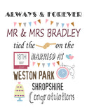 WEDDING OR ENGAGEMENT PRINT - ANNIVERSARY PERSONALISED PRINT