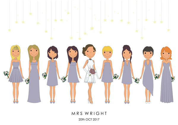PERSONALISED BRIDE, BRIDESMAID, GROOM & BEST FRIENDS CHARACTERS PORTRAIT PRINT