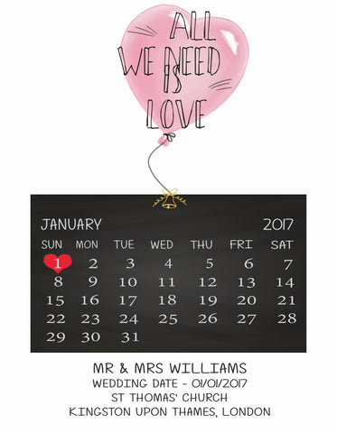 'WEDDING OR ENGAGEMENT DATE PRINT' - ANNIVERSARY CALENDAR PRINT
