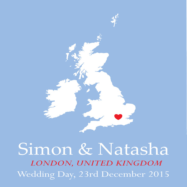 WEDDING LOCATION MAP PERSONALISED ANNIVERSARY ENGAGEMENT PRINT