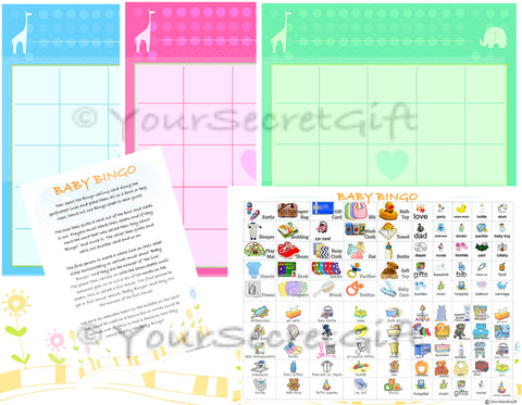 'BABY BINGO' Baby Shower Game 20 Sheets Players (Pre Filled) UK Boy Girl Neutral