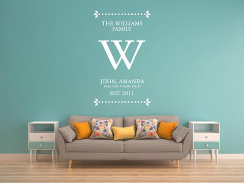 Personalised Family Name Wall-Sticker, Wall Art For Home Interior Design AG03