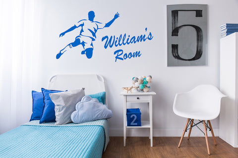 Personalised Name and Football Style Wall Sticker For Boys Bedroom Wall Art AG15