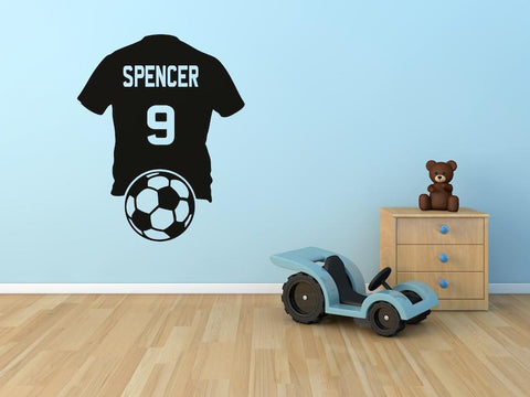 Personalised Name Football Tshirt Wall Sticker For Boys Bedroom Wall Art AG30