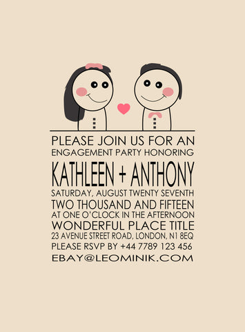 WEDDING OR ENGAGEMENT INVITATION PERSONALISED CARD
