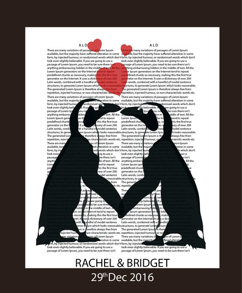 LOVE PENGUINS CUTE LOVE STORY - PERSONALISED WEDDING, ANNIVERSARY, ENGAGEMENT PRINT