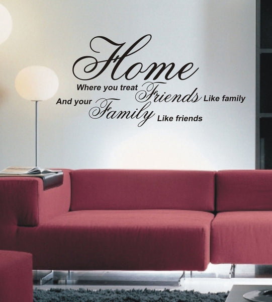 Home where you treat friends like family - Wall Art Decals Sticker Quote wa15