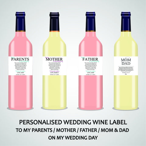 PERSONALISED WEDDING WINE LABEL, SPIRIT OR BEER - TO MY PARENTS
