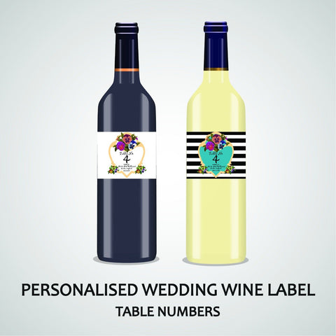 PERSONALISED WEDDING TABLE WINE LABEL, SPIRIT OR BEER - TABLE NUMBERS
