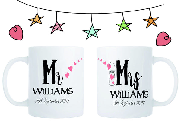 PERSONALISED MR AND MRS MUG WEDDING ENGAGEMENT GIFT COFFEE TEA CUP SET OF 2 MUGS