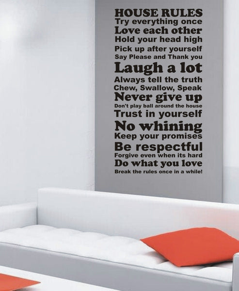 House Rules! - Wall Art Decals Sticker Quote - Extra Large wa047
