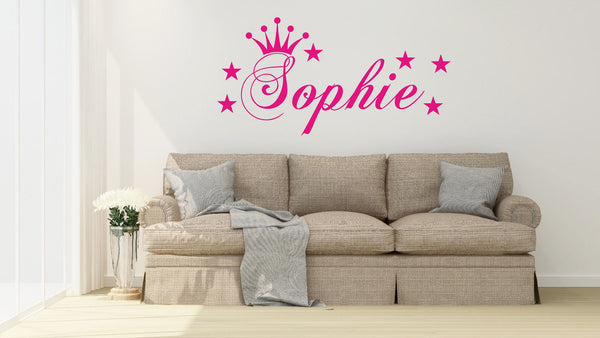 Personalised Princess Star Sticker for Girls Bedroom - Wall Art Sticker Name
