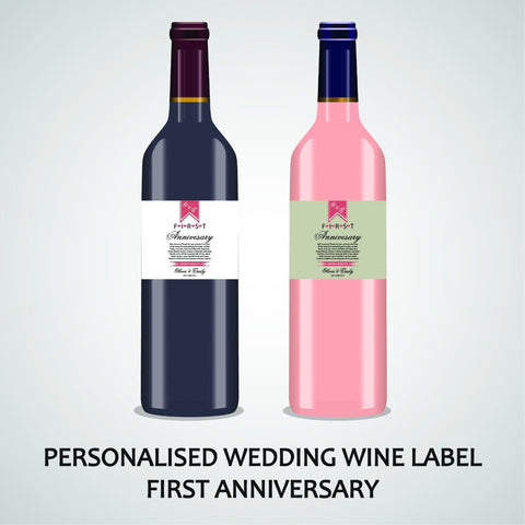 PERSONALISED WEDDING ANNIVERSARY WINE LABEL, SPIRIT OR BEER WITH LOVE AND THANKS
