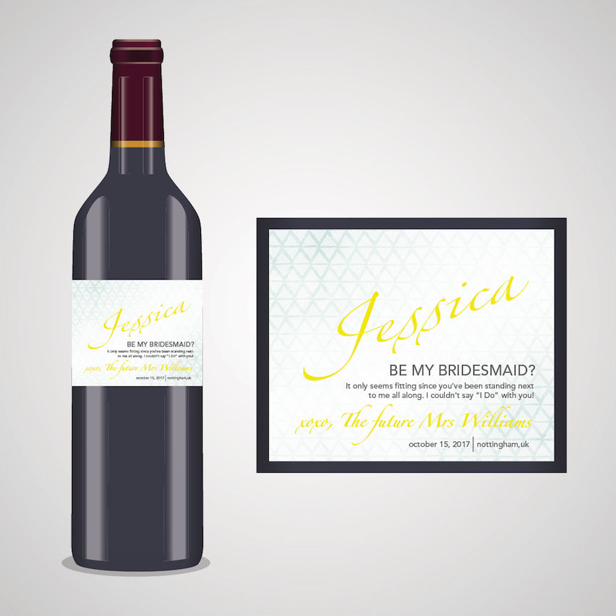 personalised bridesmaid wine label spirit or beer will you be my