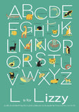 PERSONALISED CHILD's NAME, ALPHABET & ANIMAL - NURSERY ART PRINT - ANY COLOUR