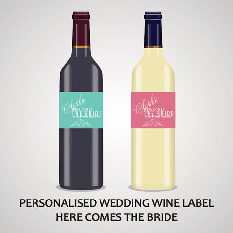 PERSONALISED WEDDING WINE LABEL, SPIRIT OR BEER - HEAR COMES THE BRIDE..
