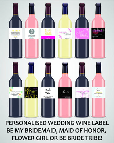 PERSONALISED BRIDESMAID WINE LABEL, SPIRIT OR BEER - WEDDING MAID OF HONOR