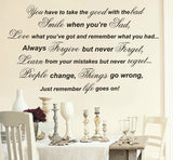 Just Remember Life Goes On! - Wall Art Decals Sticker Quote - Extra Large wa049