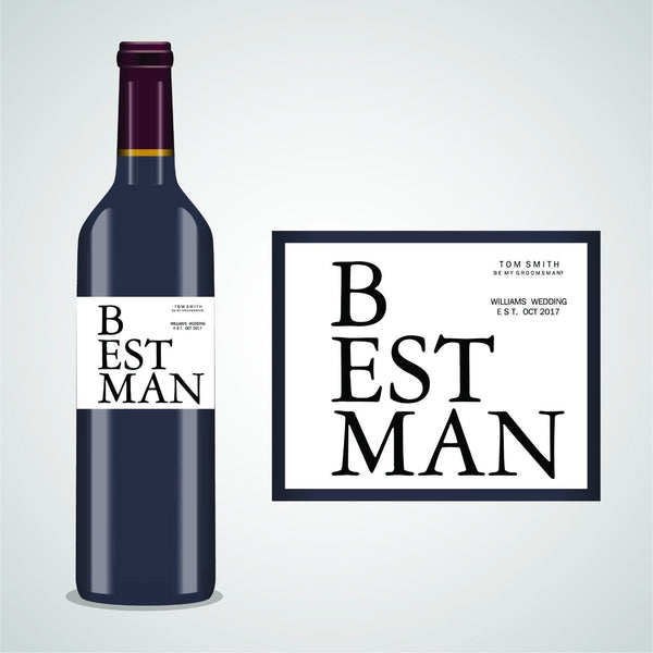 PERSONALISED BESTMAN GROOMSMAN WINE LABEL, SPIRIT OR BEER - BE MY BESTMAN