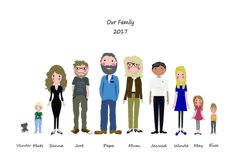 PERSONALISED FAMILY CHARACTERS PORTRAIT PRINT - BUILD YOUR OWN FAMILY