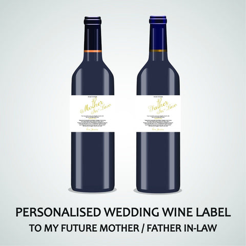 PERSONALISED WEDDING WINE LABEL, SPIRIT OR BEER - TO MY FUTURE IN-LAW