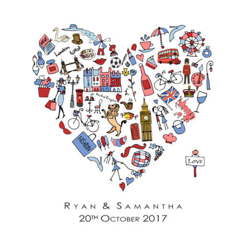 PERSONALISED HEART PRINT WITH FAMOUS THINGS FROM YOUR COUNTRY - LOVE OR HOME ART