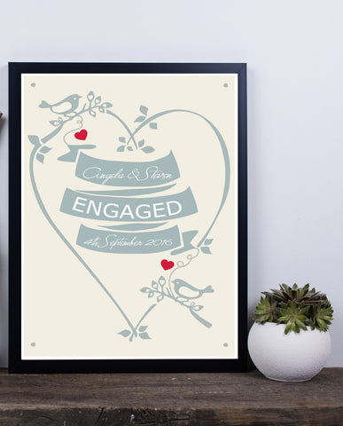 WEDDING OR ENGAGEMENT HEART PRINT - BUILD YOUR ROMANTIC LOVE PRINT
