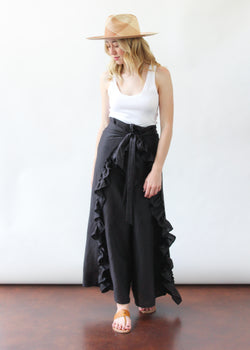 June Wrap Pant in Black