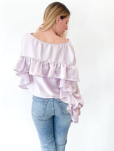 <h1>Ruffle Back Top in Lavender</h1>