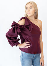 One Shoulder Silk Top - Shop Elizabeth