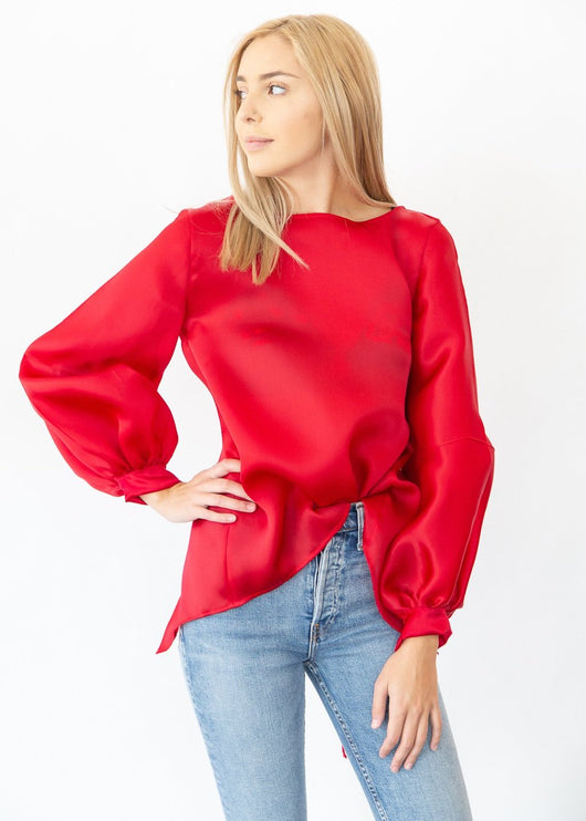 Organza Stripe Sleeve Top in Red - Shop Elizabeth