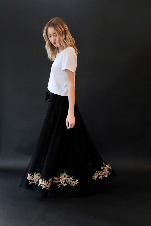 Anna Wrap Embroidered Skirt