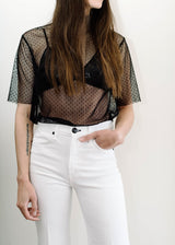 <h1>Sheer Mesh Polka Dot Top in Black</h1>