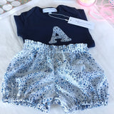 Initial bodysuit and bloomer set