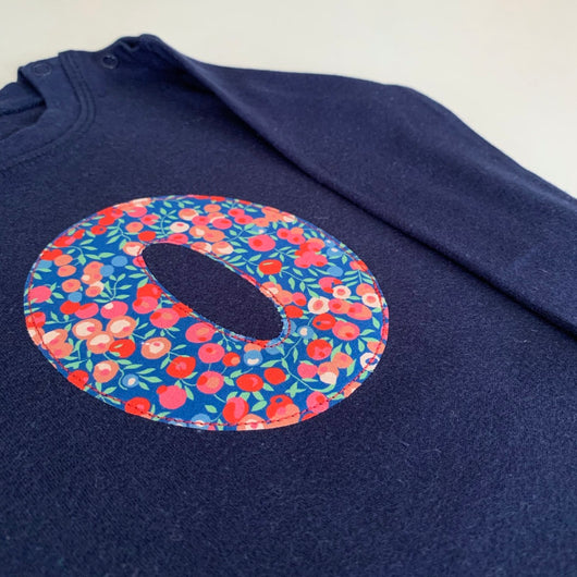 SALE: Navy long sleeve initial t-shirt