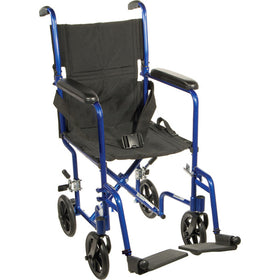 "Drive Lightweight 17"" Aluminum Transport Chair (Blue)"