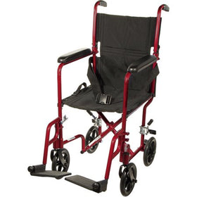 "Drive Lightweight 17"" Aluminum Transport Chair (RED)"