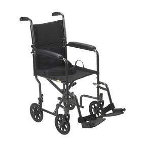 "Lightweight Steel Transport Wheelchair, Fixed Full Arms, 19"" Seat"