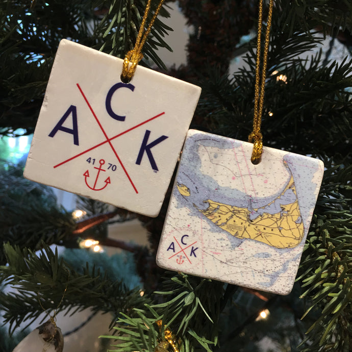 Nantucket Chart & ACK 4170™ Marble 2-Sided Ornament