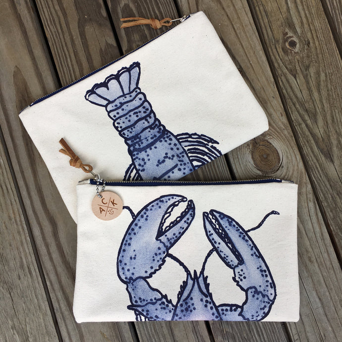 Blue Lobster Canvas Clutch