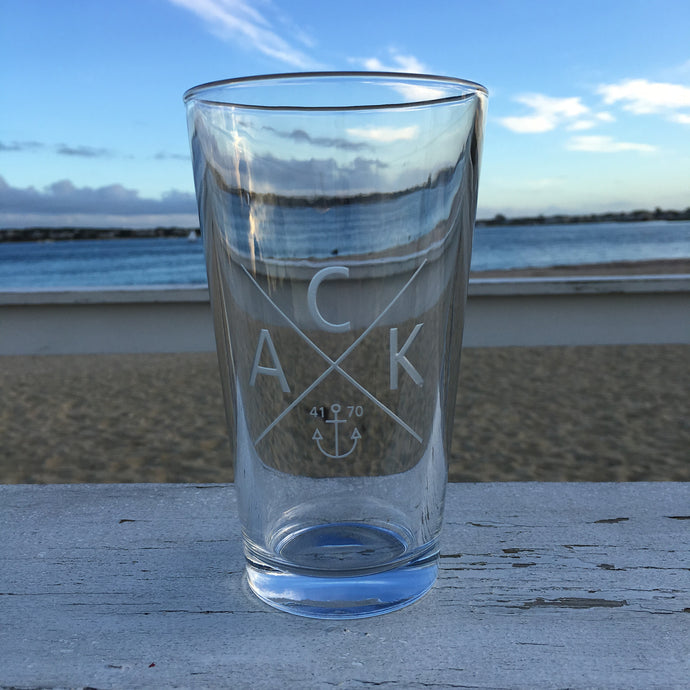 Etched Pint Glass Set of 2