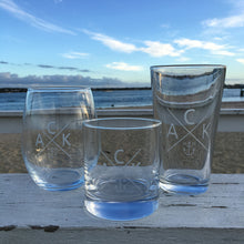 Etched Rocks Glass Set of 2