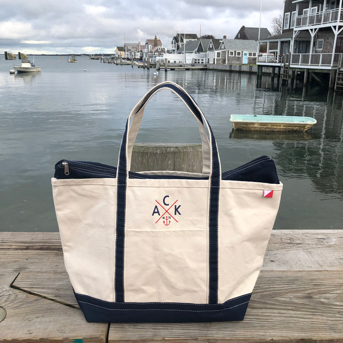 ACK 4170™ Large Canvas Zip Top Tote Navy