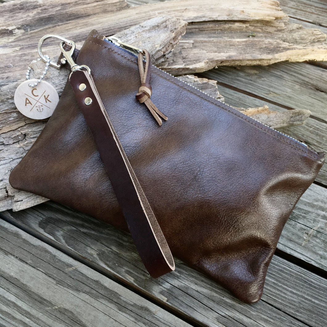 Brown Leather Clutch