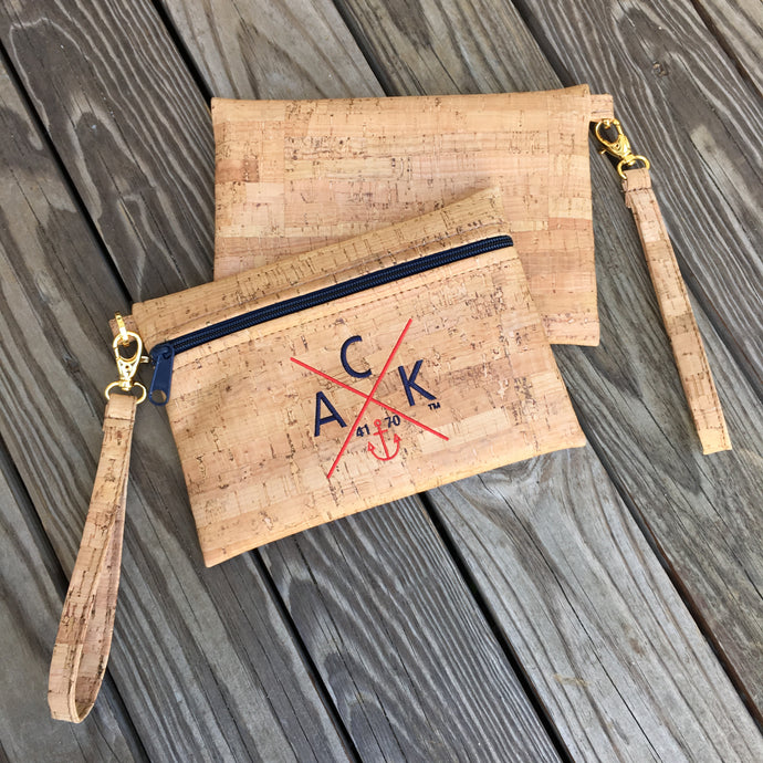 ACK 4170™ Embroidered Cork Wristlet (Navy)