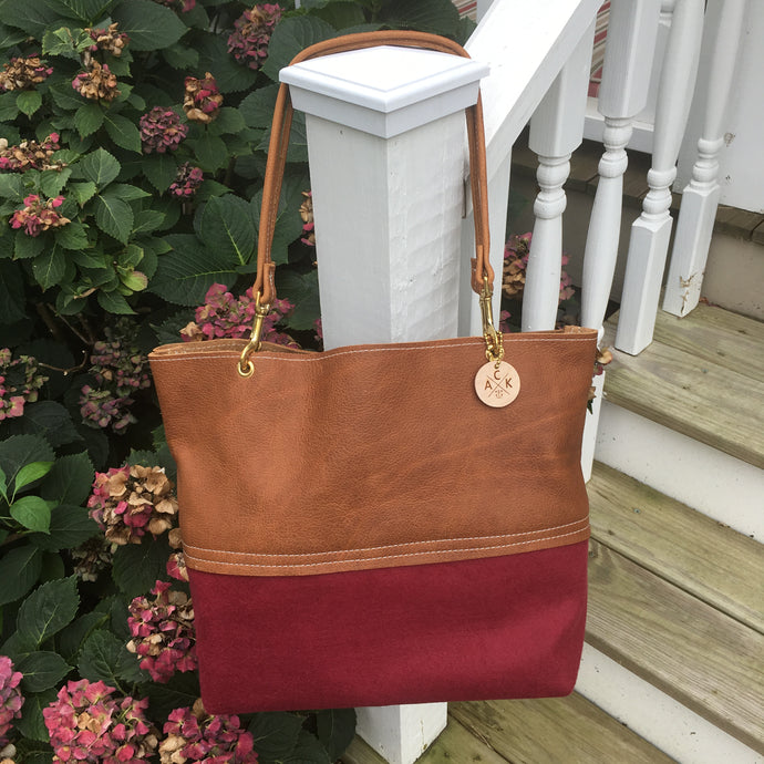 Genuine Leather & Burgundy Felted Wool Tote