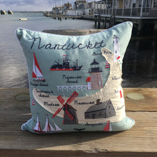 Embroidered Nantucket Island Accent Pillow